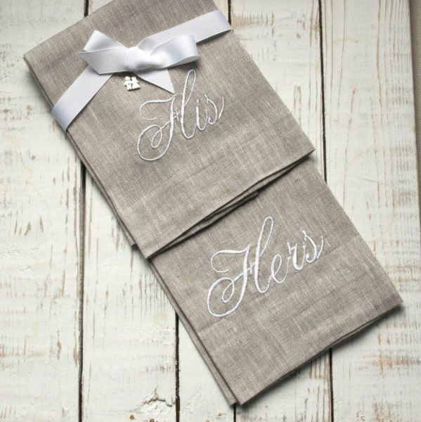 W1043 His and Hers Flax Towels with White Lettering