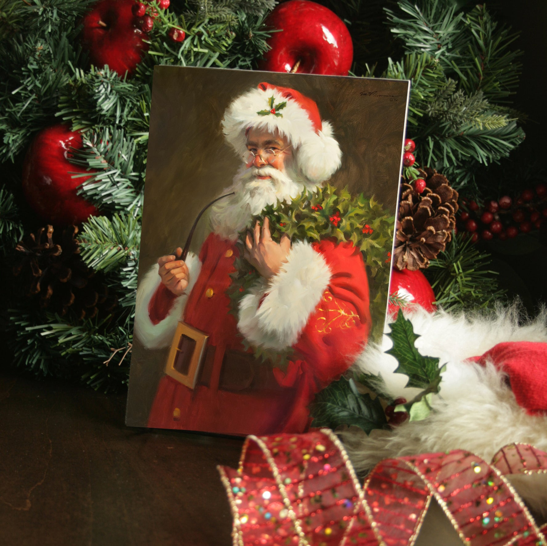 "CZ1094 Spirit of Santa Mini Giclee - 7"" X 10"""