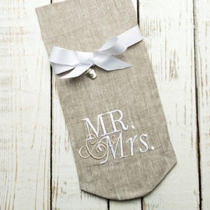 W1037 Mr. and Mrs. Taupe Wine Bag with White Lettinger