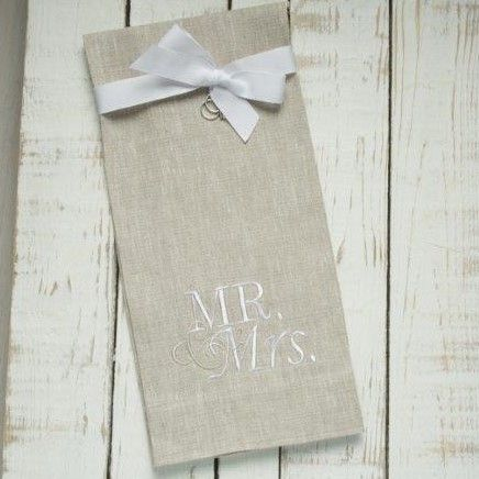W1041 Mr. and Mrs. Taupe Towel with White Lettering