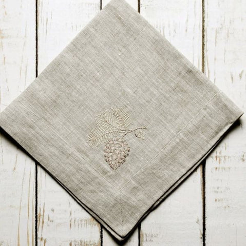 W1045 Flax Linen Napkins with Pinecone Detailing