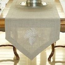 W1046 Flax Linen Table Runner with Pinecone Detailing