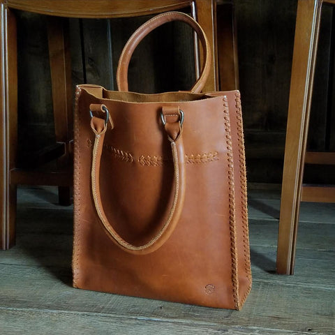 I1003 Braided Tote (Color: Whiskey)