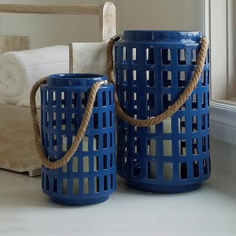 COS1010 Beach Blue LanterN Set (Set of 2 large and small)