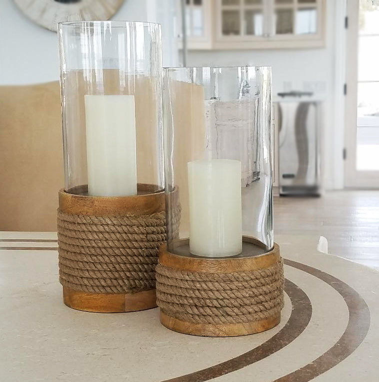 COS1018 Rope Hurricane Candle Holder Set (Set of 2 large and small)