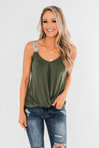 Casual Green Somewhere Next To You Twist Tank Top