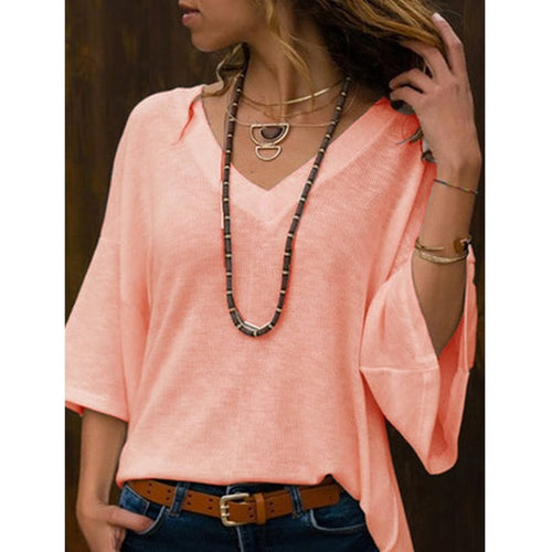 Cotton Half Sleeve V Neck Solid Blouse -Multiple Colors
