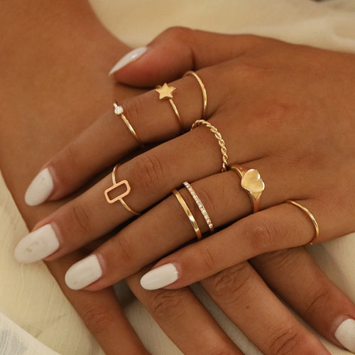Bohemian Vintage Gold Heart Star Joint Ring Set