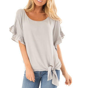 Ruffle Solid Short Sleeve - Multiple Colors