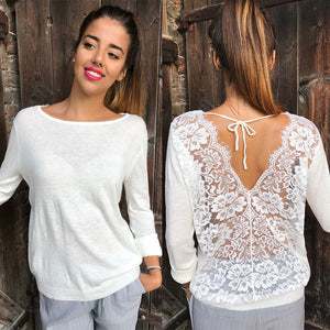 Backless Lace Sheer Long Sleeve