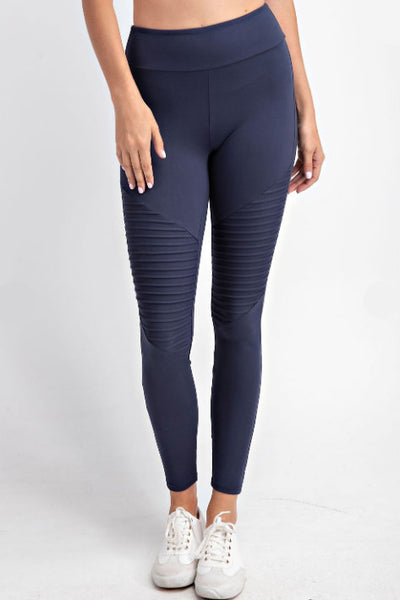 Buttery Soft Moto Leggings - Navy