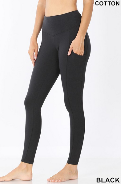 Cotton Pocket Leggings - Black