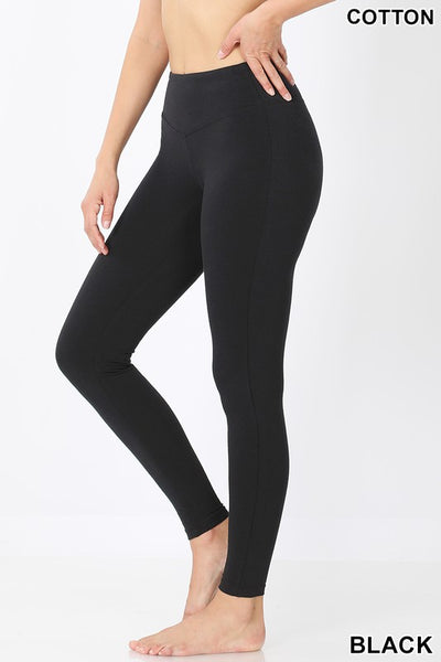 Cotton Wide Waistband Leggings - Black