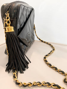 Chanel- Patent Logo Tassel Camera Bag