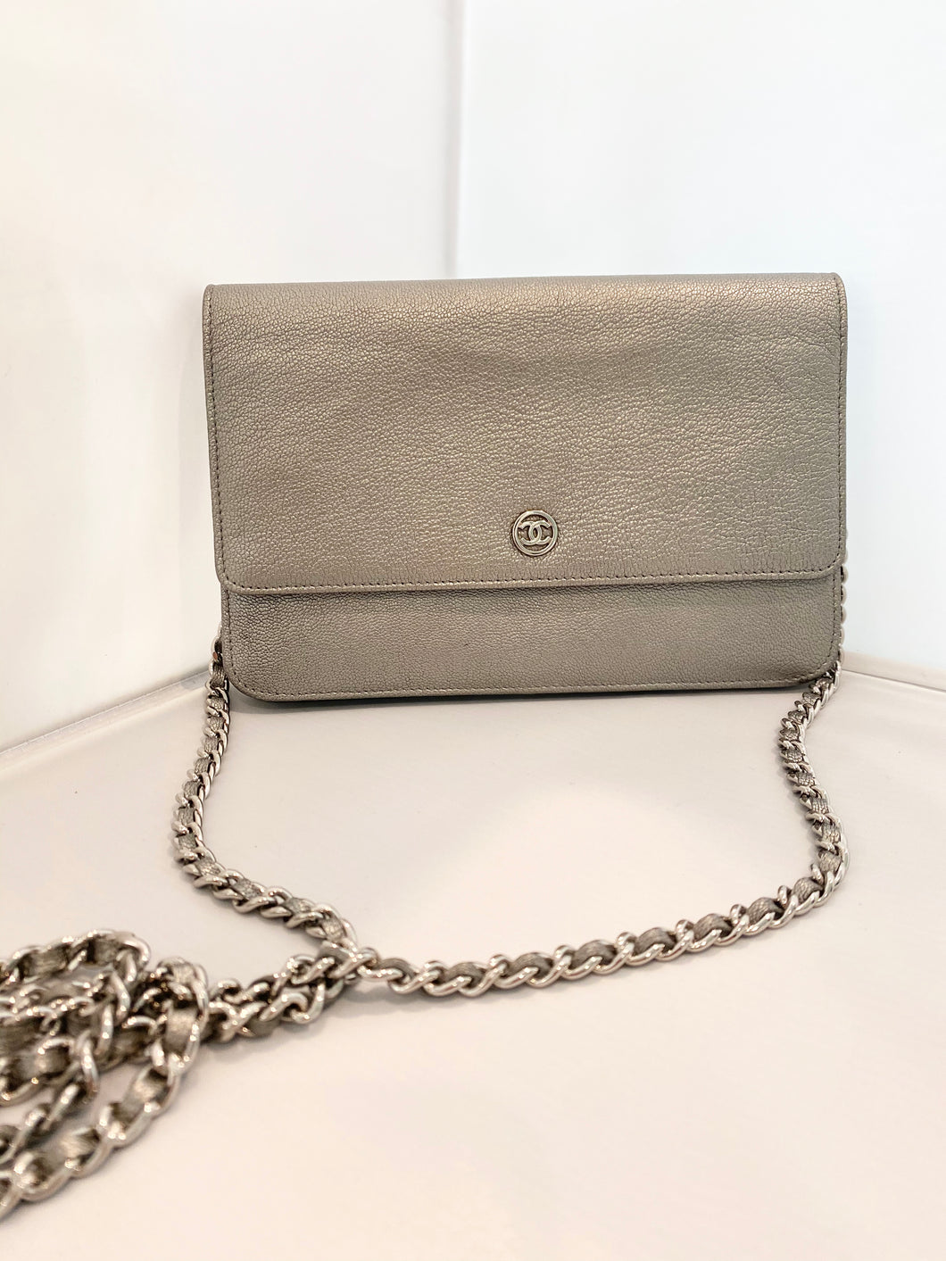 Chanel- Metallic Wallet on a Chain