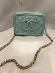 Chanel- Caviar Tiffany Blue Filigree Mini