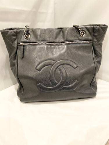 Chanel- Navy Caviar Logo Shopper Tote