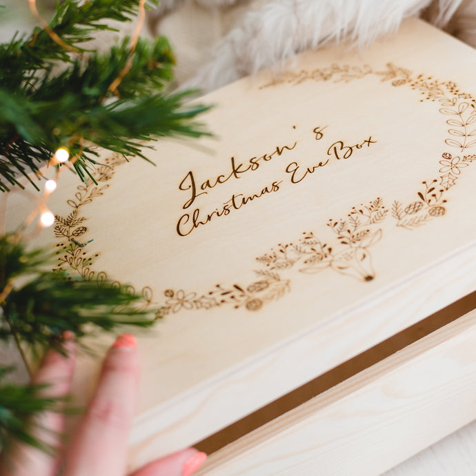 Personalised Christmas Eve Box - Deer Wreath