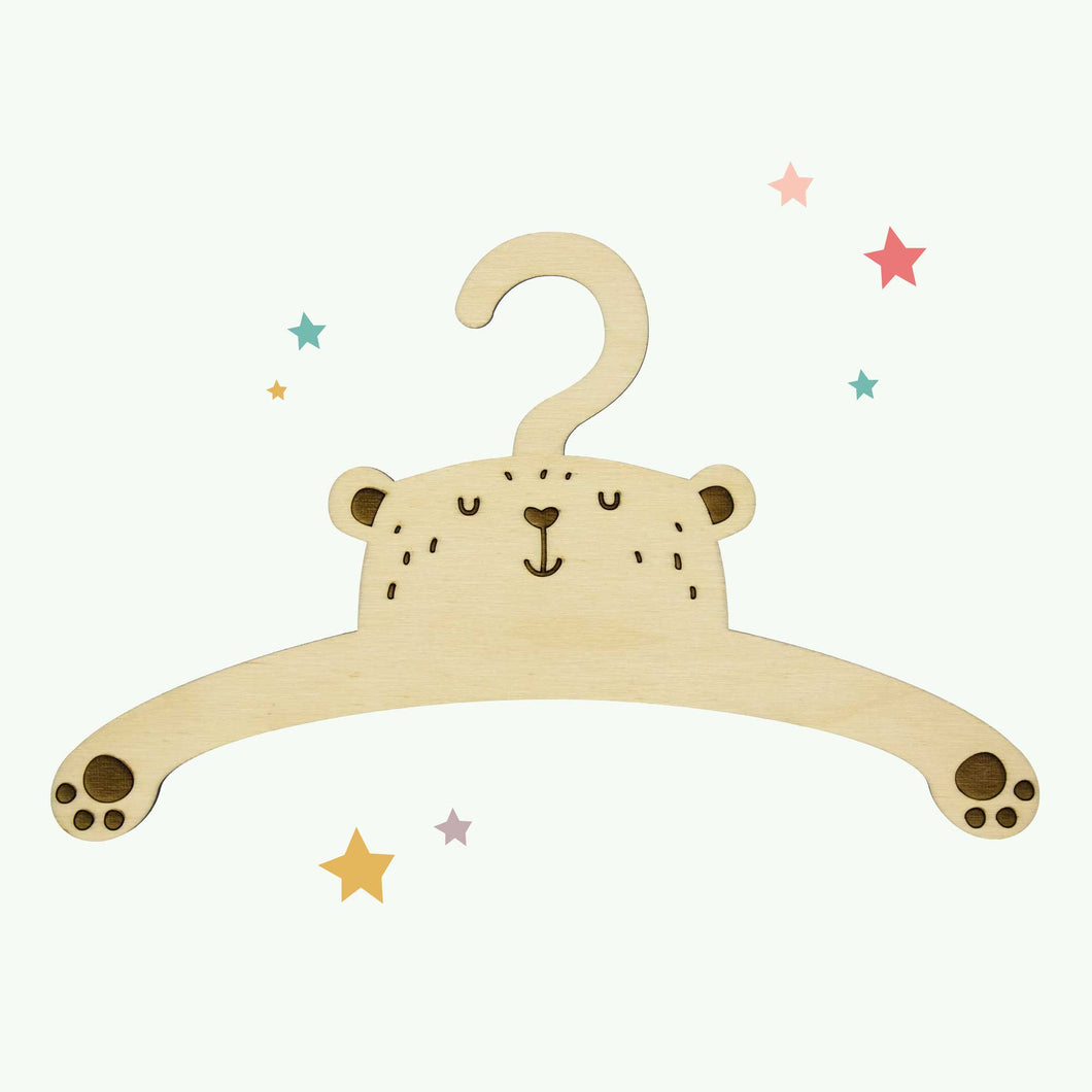 Little Bear Child's Wooden Coat Hanger