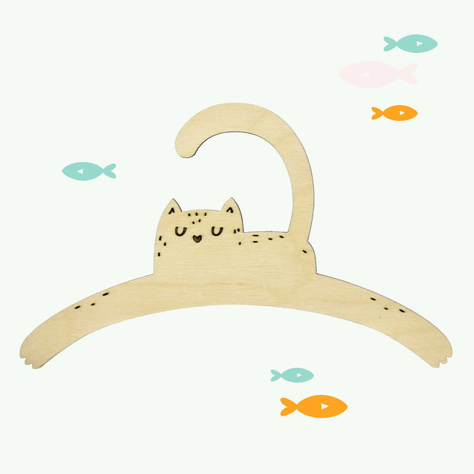 Little Cat Child's Wooden Coat Hanger