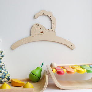 Little Dog Child's Wooden Coat Hanger