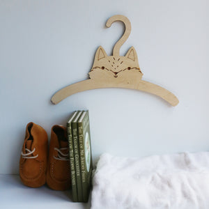 Little Fox Child's Wooden Coat Hanger