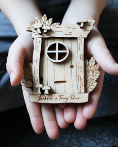 Personalised Wooden Fairy Door with Mushroom Design
