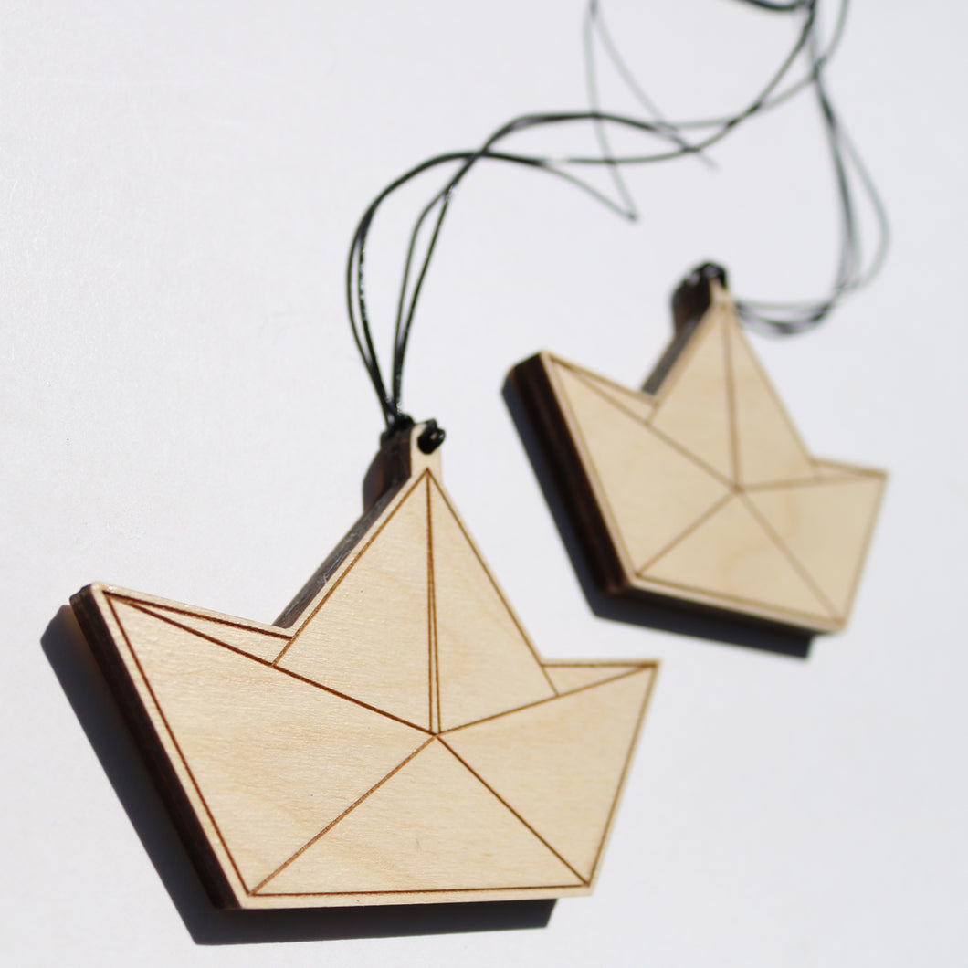 Wooden Paper Boat Decoration