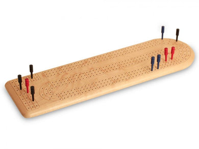 Bird's-Eye Maple Continuous 3-Track Cribbage Board