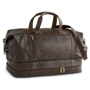 "20"" Drop-Bottom Leather Duffle"
