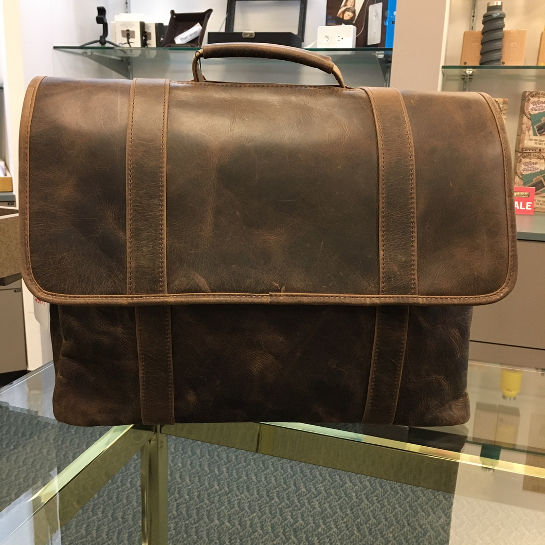 DayTrekr Distressed Flapover Triple Gusset Briefcase