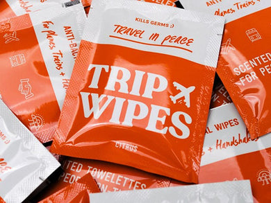 Trip Wipes: 30 Individually Packaged Anti-Bacterial Wipes Made in USA