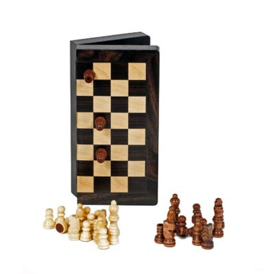 Travel Wood Magnetic Chess Set- 8 inch