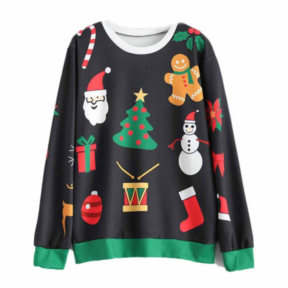 Women Christmas Long Sleeve Sweatshirt Hooded Pullover Tops Blouse