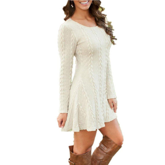 Long Sleeve Loose knitted Sweaters Dresses