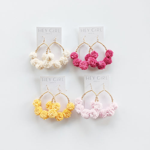 Paisley Raffia Pom Earrings (Multiple Colors)