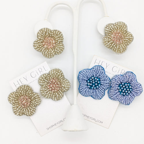 Beaded Poppy Earrings