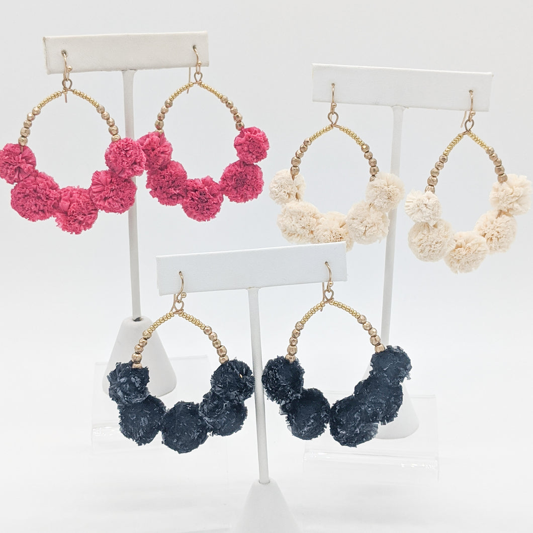Paisley Pom Earrings