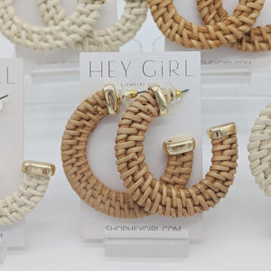 Beach Bound Rattan Hoop Earrings