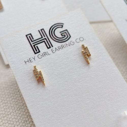 Mini Bolt 14k Gold Dipped Stud Earrings