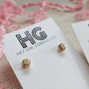 Dewdrop CZ + 24k Gold Stud Earrings