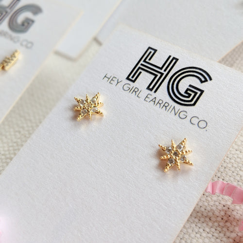 Starburst CZ + 24k Gold Stud Earrings