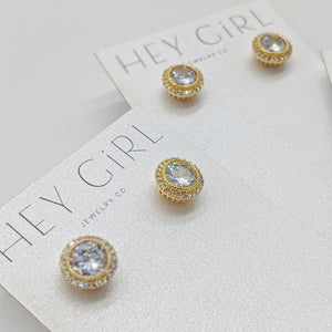 Kelly Gold CZ Stud Earrings