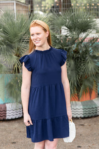 High Neck Dress in Navy Blue