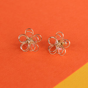 Wire Flower Stud Earrings