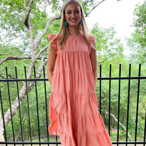 Bexley Maxi Dress in Lemon and Coral