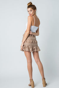 Flounce Mini Skirt in Coffee