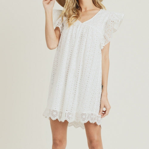 Eyelet Dress in Red and Off White