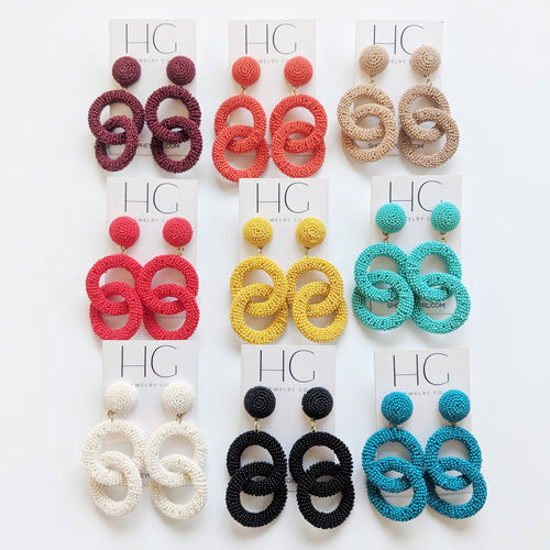 Addie Beaded Statement Earrings (Multiple Colors)
