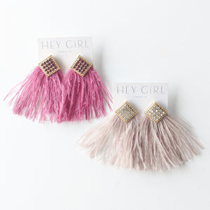 Avery Diamond & Feather Earrings